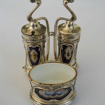Alcuza Plata 925 y Porcelana Art Noueau