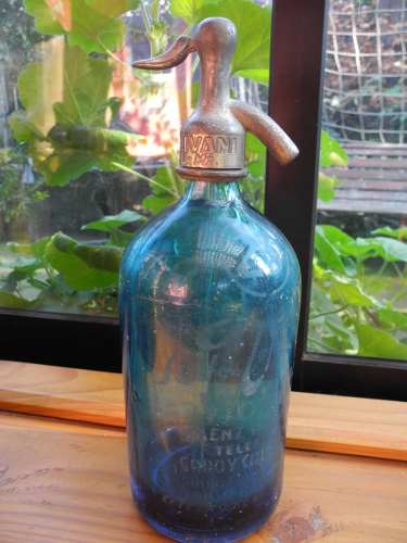 Sifón antiguo color azul