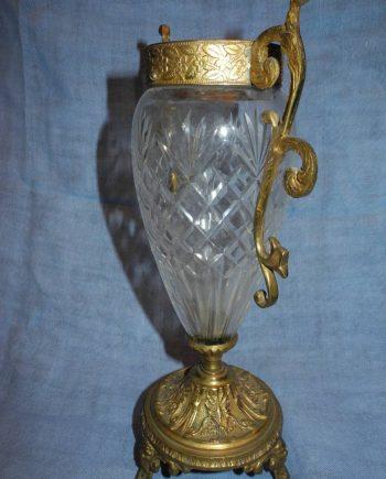Jarrón francés cristal y bronce tallados