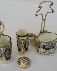 Alcuza Plata 925 y Porcelana Art Noueau 2