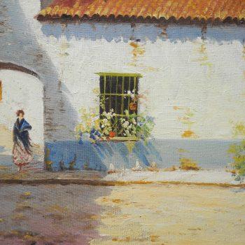 Pintor Marin Oleo Tema Español Iglesia 64x46