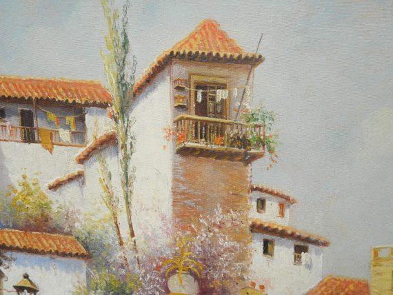 Pintor Marin Oleo Tema Español Calle De Pueblo 64x46 Cm