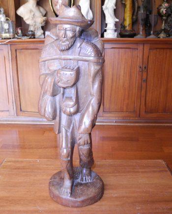 Escultura En Madera Caminante Pobre Mendigo 43 Cm Altura