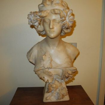 Busto De Alabastro Francés
