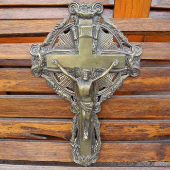 Crucifijo Antiguo De Bronce