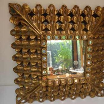Espejo Antiguo Tipo Panel de Abeja