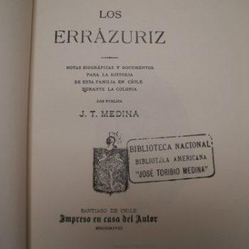 Libro Los Errazuriz Ejemplar Numero 469