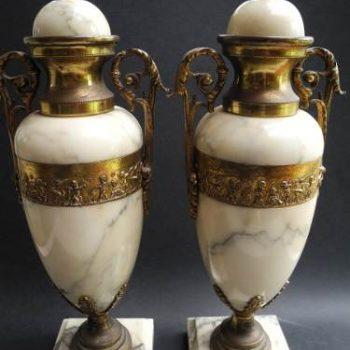 Par De Urnas De Bronce Y Marmol 7 Kg Siglo 19