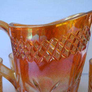 Juego de jarra y vasos Marigold Carnival Glass