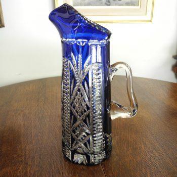 Antiguo Florero De Cristal Bohemia Azul Cobalto Alto:35 Cm!!