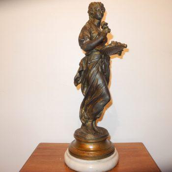 Antigua Estatua De Bronce Y Marmol