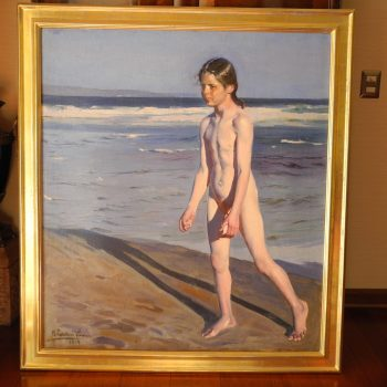 "Benito Rebolledo Correa ""Niña al borde del Mar"" Oleo sobre tela (hija del pintor) fechada 1914 100 X 113 cms."