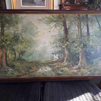 Pintura Paisaje Con Arboles Y Rancho M. Stevenson