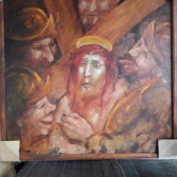 """Pintura """"Cristo cargando la Cruz"""" de Camilo Ambrosio."""