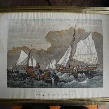 Aguafuerte Muy Antiguo 1858 Pesca En El Mar Del Norte
