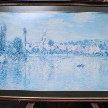 Foto Grabado En Azul: Paisaje Con Laguna 110 cm x 67 cm