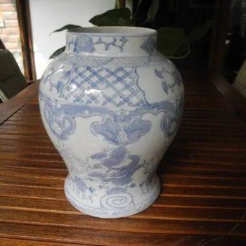 Extraordinario Potiche De Porcelana Decoracion Azul Antiguo