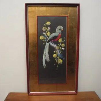 Pintura Circa 1920 Tecnica Mixta Con Plumas Reales De Pajaro